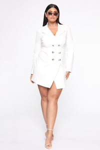 Bossing Around Mini Blazer Dress - Ivory Angle 8