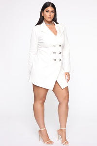 Bossing Around Mini Blazer Dress - Ivory Angle 7