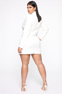 Bossing Around Mini Blazer Dress - Ivory Angle 9