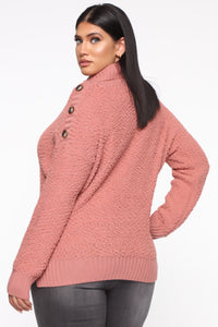Chillin' Without You Sweater - Rose