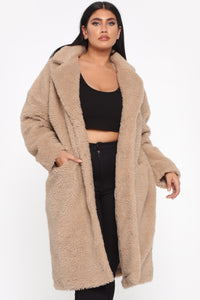 Divine Fuzzy Coat - Taupe Angle 6