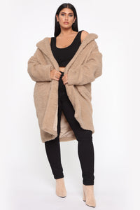 Divine Fuzzy Coat - Taupe Angle 8