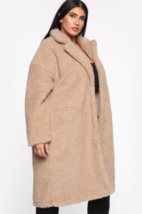 Divine Fuzzy Coat - Taupe Angle 9