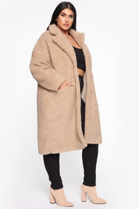 Divine Fuzzy Coat - Taupe Angle 10