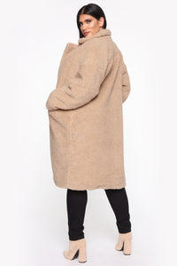 Divine Fuzzy Coat - Taupe Angle 7