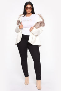 Play It Right Faux Leather Jacket - White Angle 7