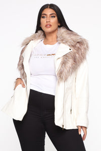 Play It Right Faux Leather Jacket - White Angle 6