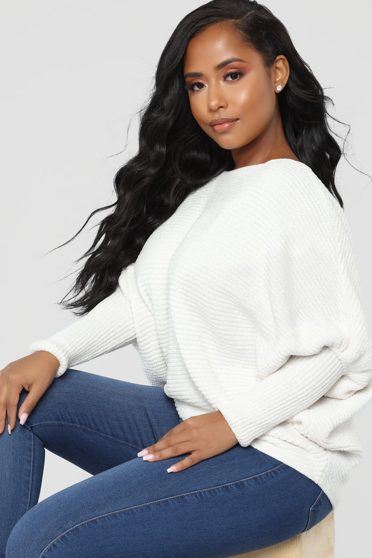 Diana Crew Neck Dolman Sweater - Off White