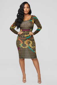 Let's Start A Chain Reaction Dress - Brown
