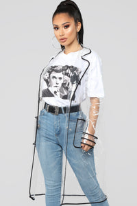 Transparent Contrast Trench Jacket - Clear