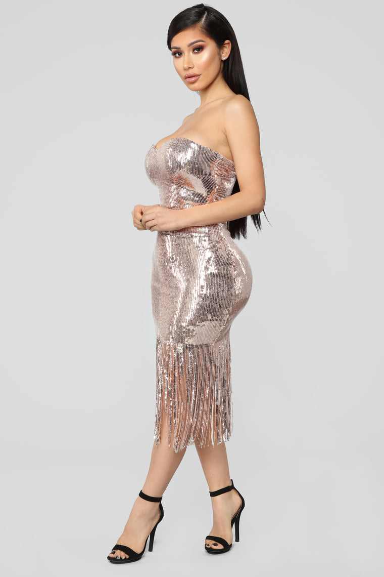 Speak Easy To Me Fringe Dress - Rose Gold
