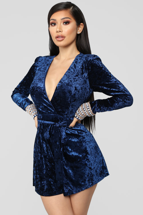 Pearl Popper Crushed Velvet Romper - Navy