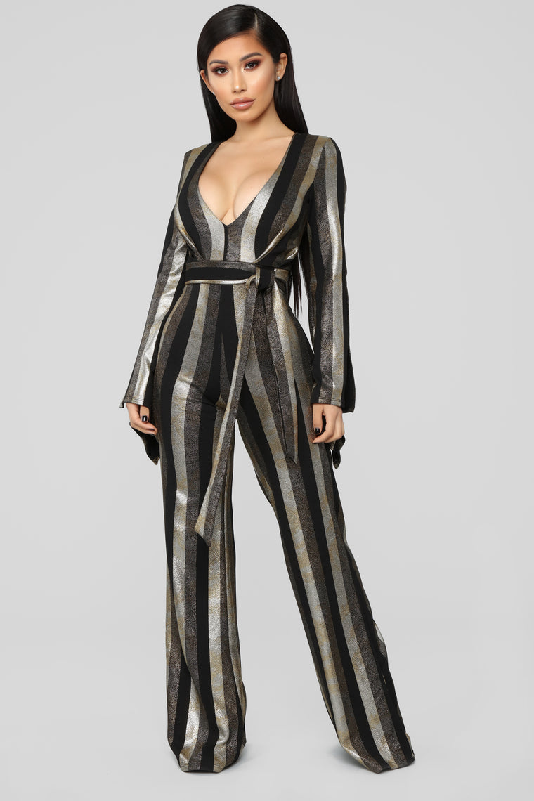 Go Out With Me Jumpsuit - Gold