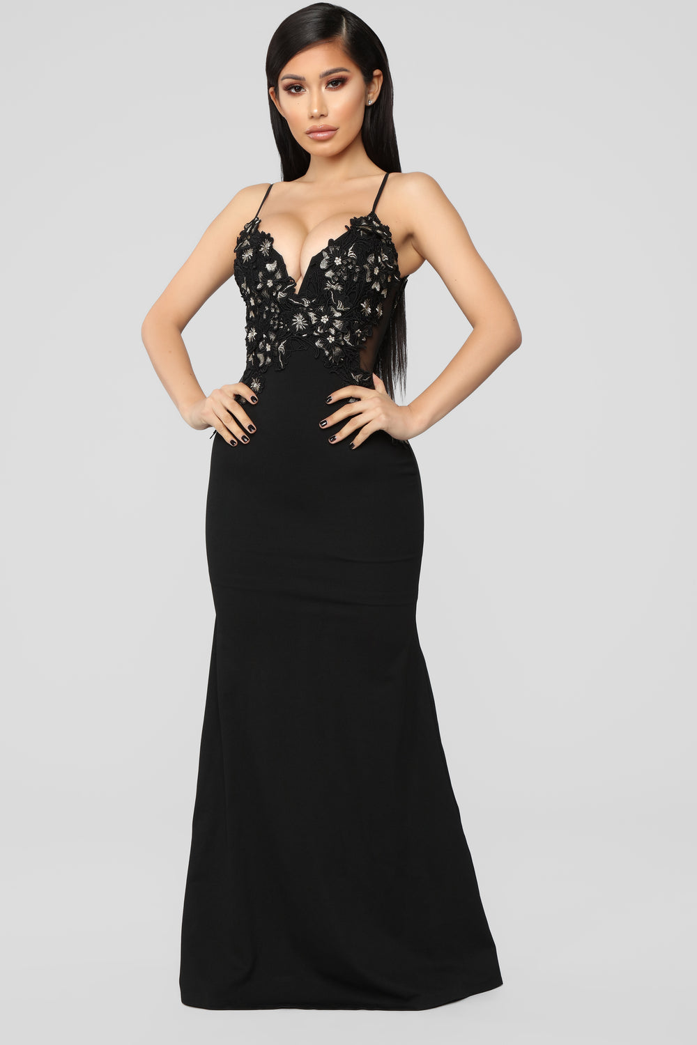 It's A Date Embroidered Gown - Black