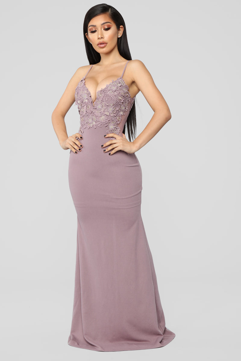 It's A Date Embroidered Gown - Mauve
