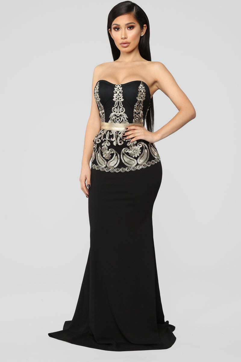 Where's My Oscar Peplum Dress - Black