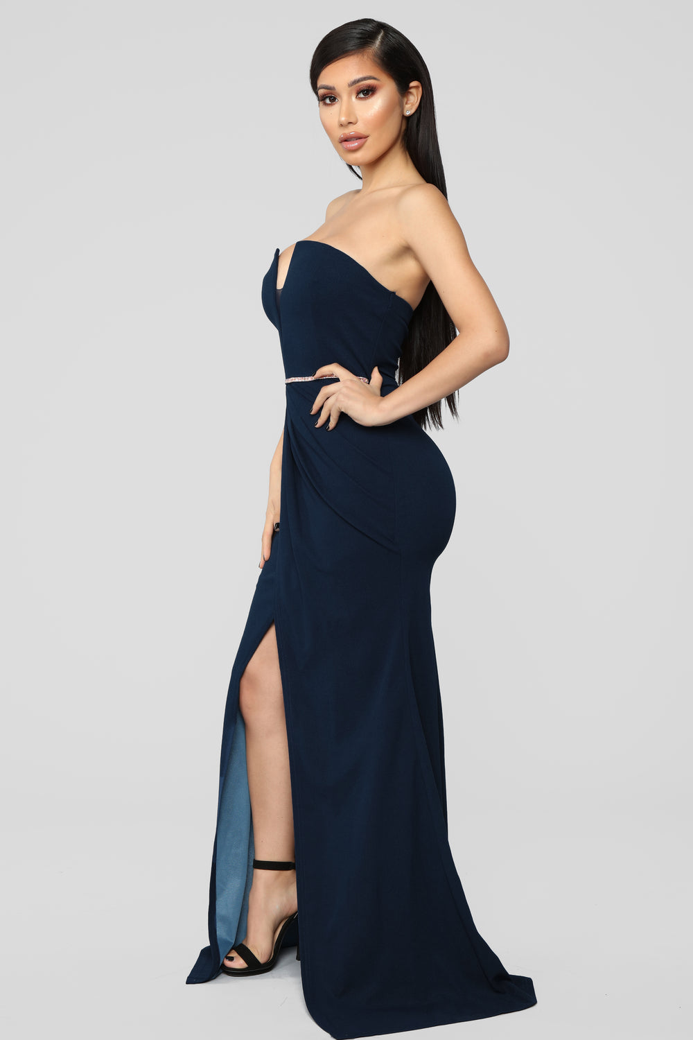 Taking Chances High Slit Gown - Teal