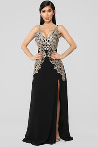 She's A Charm Embellished Gown - Black