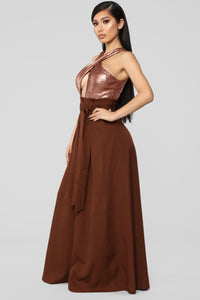 I'd Remember You Sequin Jumpsuit - Bronze