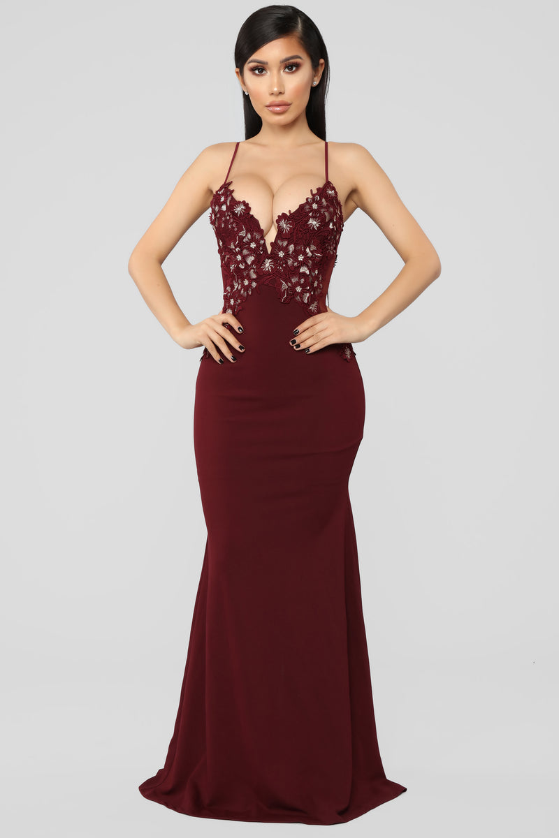 It's A Date Embroidered Gown - Burgundy