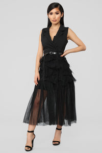 Levels Of Sophistication Ruffle Dress - Black