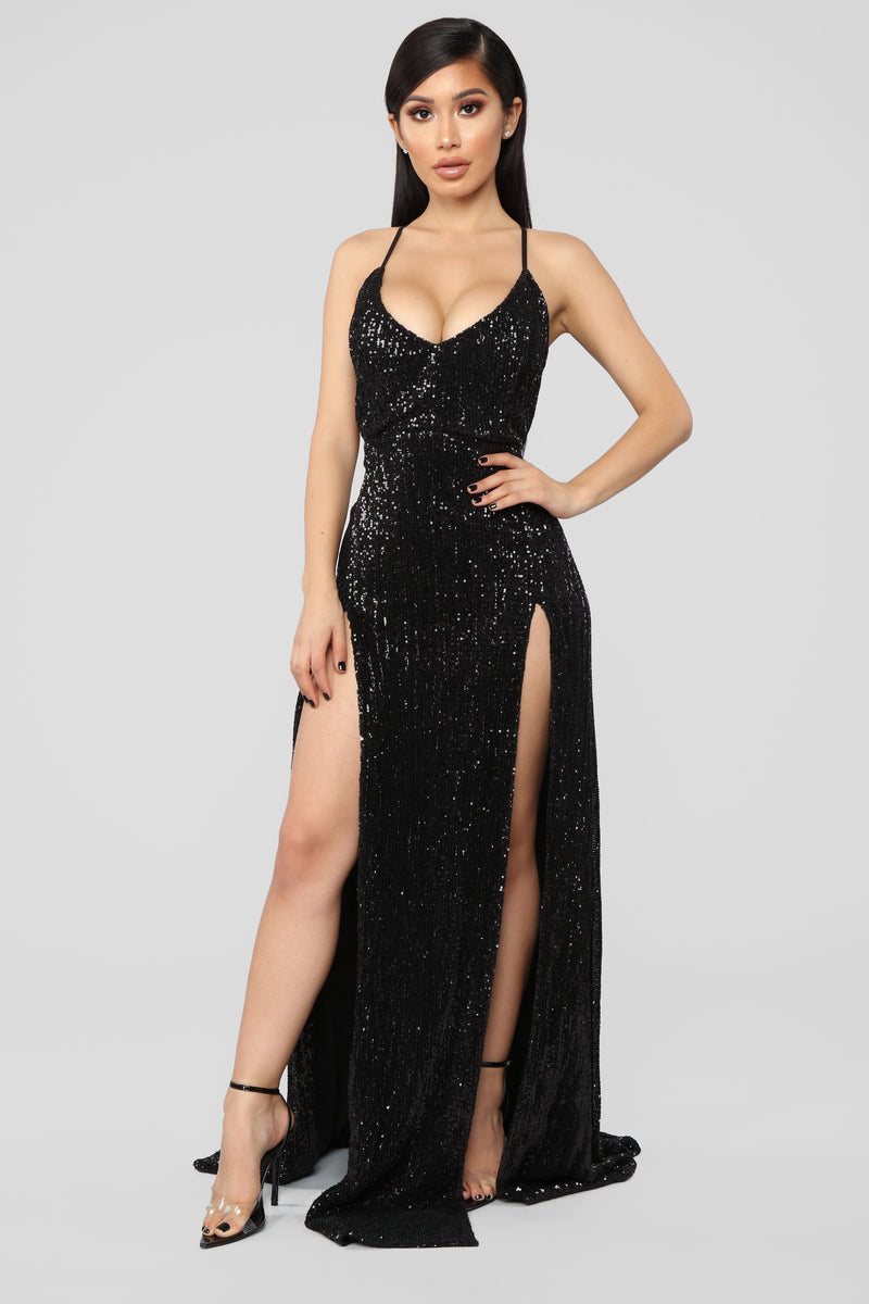 Hollywood Rooftop Party Sequin Dress - Black