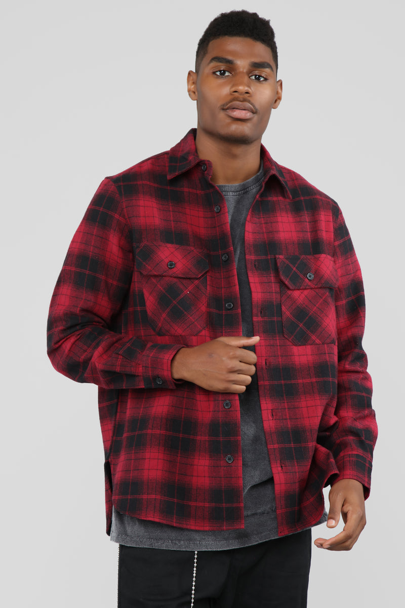 Kane's Long Sleeve Flannel Top - Red/Black