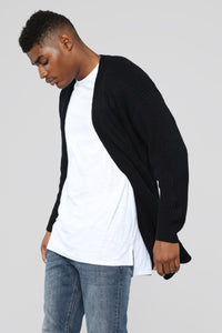 Oversized Cardigan Sweater - Black Angle 1