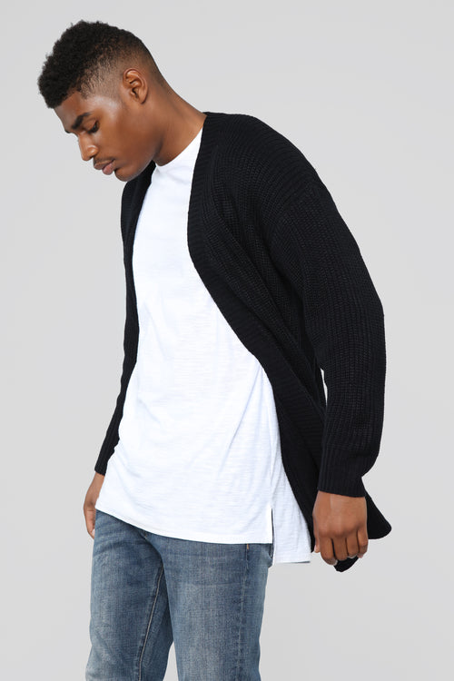 Oversized Cardigan Sweater - Black