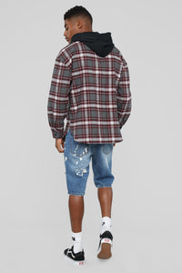 The Kurt Long Sleeve Hooded Flannel Top - Grey/Red