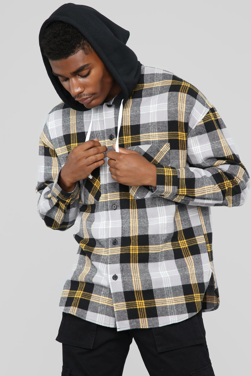 The Kurt Long Sleeve Hooded Flannel Top - Black/Yellow