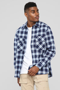 Kane's Long Sleeve Flannel Top- Blue/White