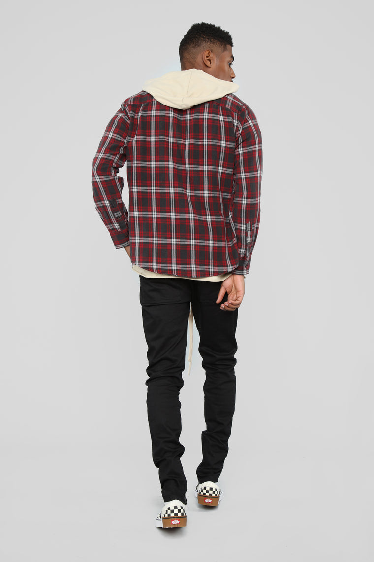 The Edison Long Sleeve Flannel Top - Black/Red