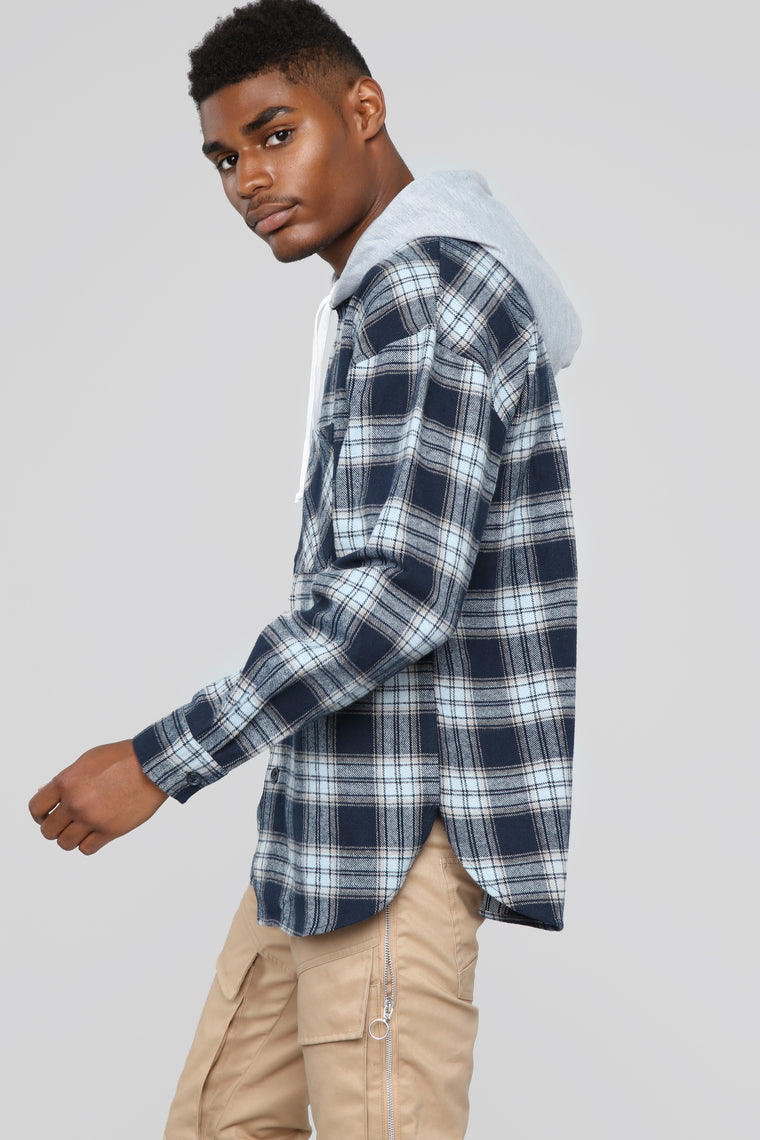 The Kurt Long Sleeve Hooded Flannel Top - Navy/Powder Blue