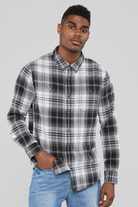 The Logan Long Sleeve Flannel Top - Black/White
