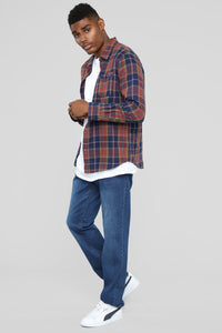 The Glenn Long Sleeve Flannel Top - Blue/Combo