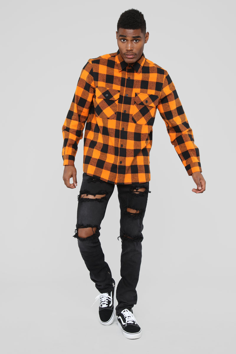 Kane's Long Sleeve Flannel Top- Orange/combo