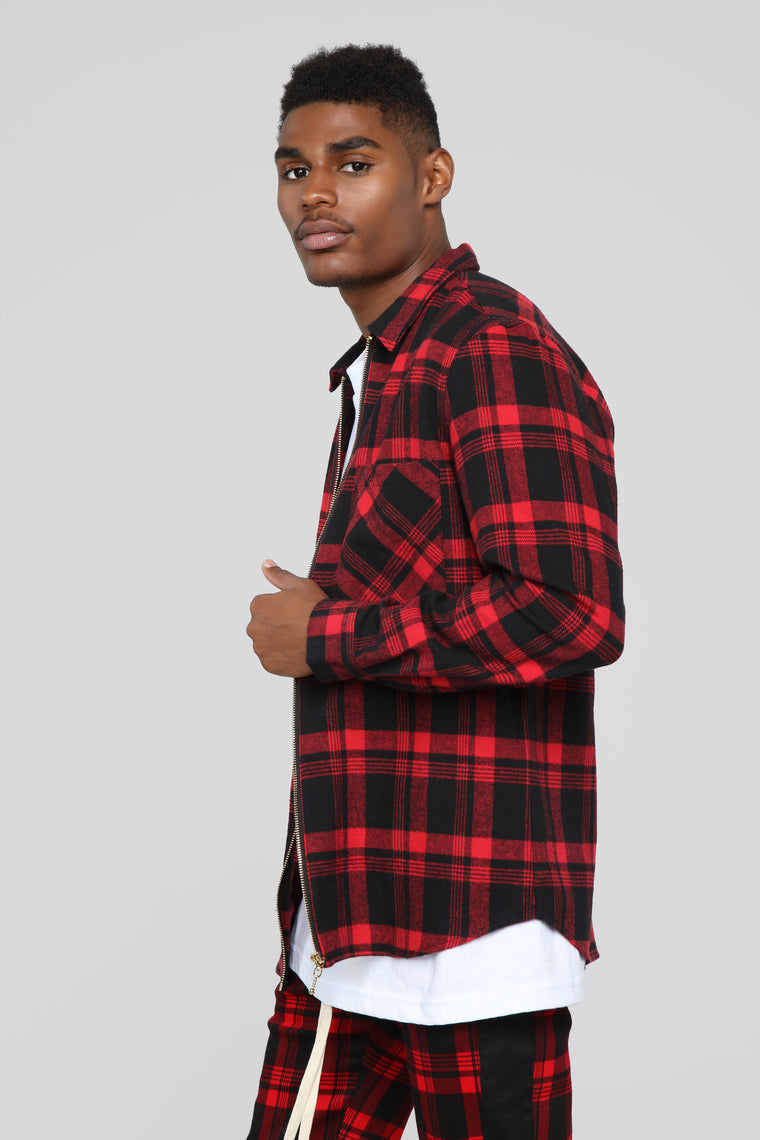 Zack Long Sleeve Zip Flannel Shirt - Black/Red