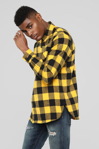 Kane's Long Sleeve Flannel top - Yellow/combo