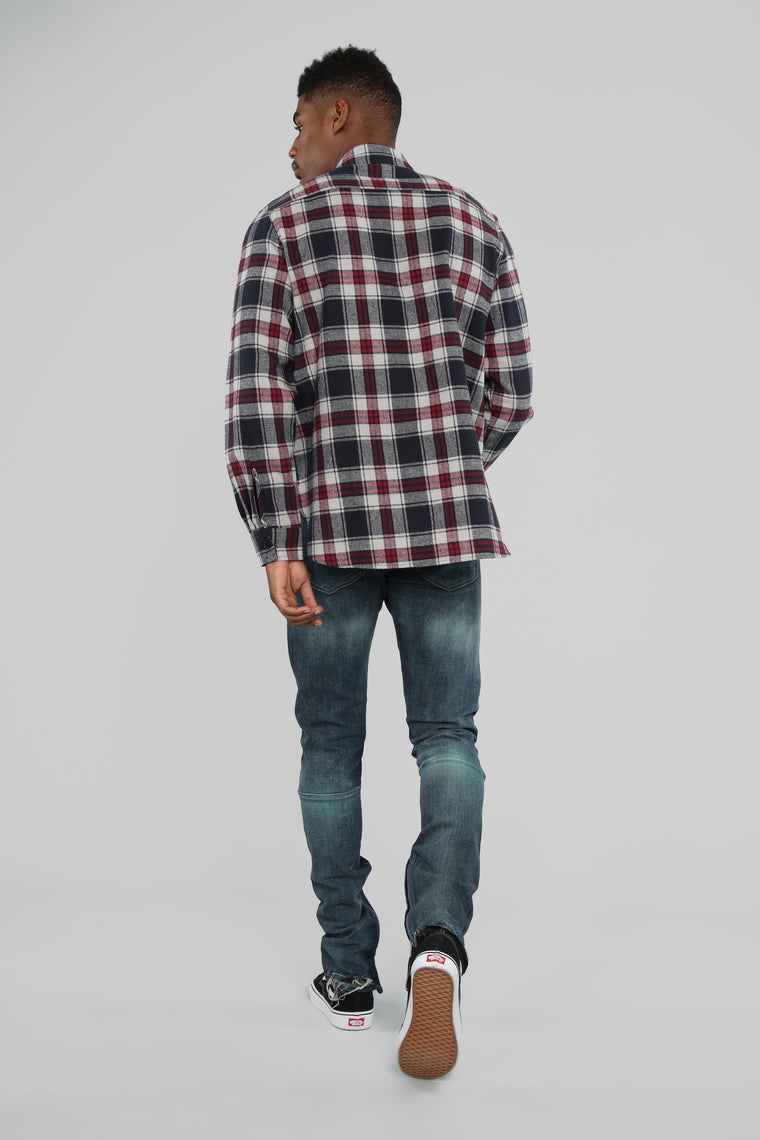 Kane's Long Sleeve Flannel Top- Grey