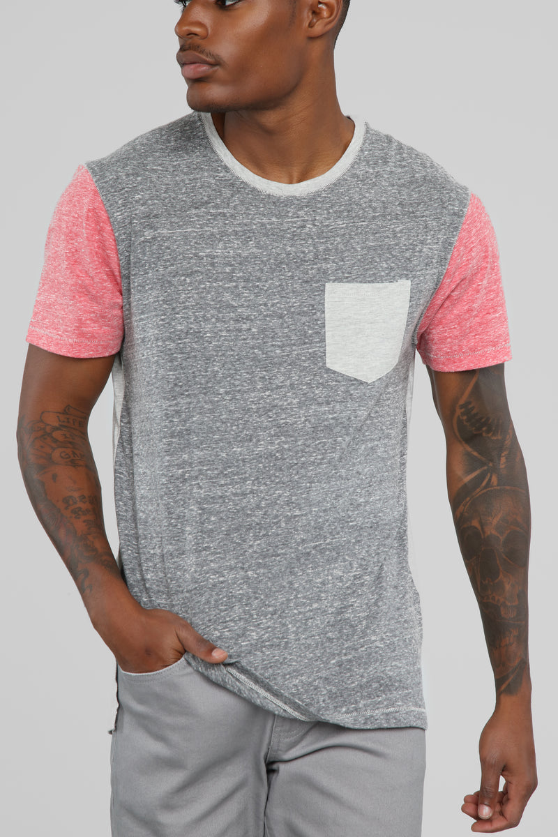 Tim Color Block Short Sleeve Pocket Tee - Black