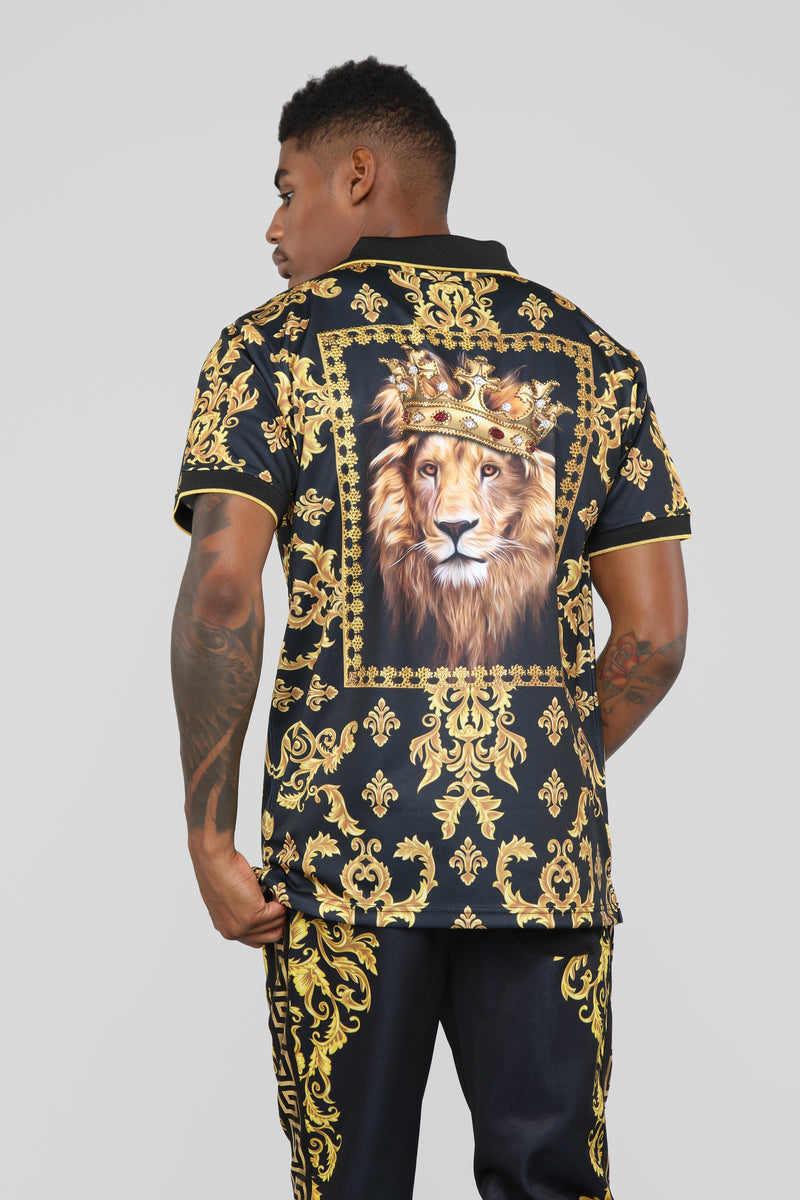 King Of The Jungle Short Sleeve Polo - Black