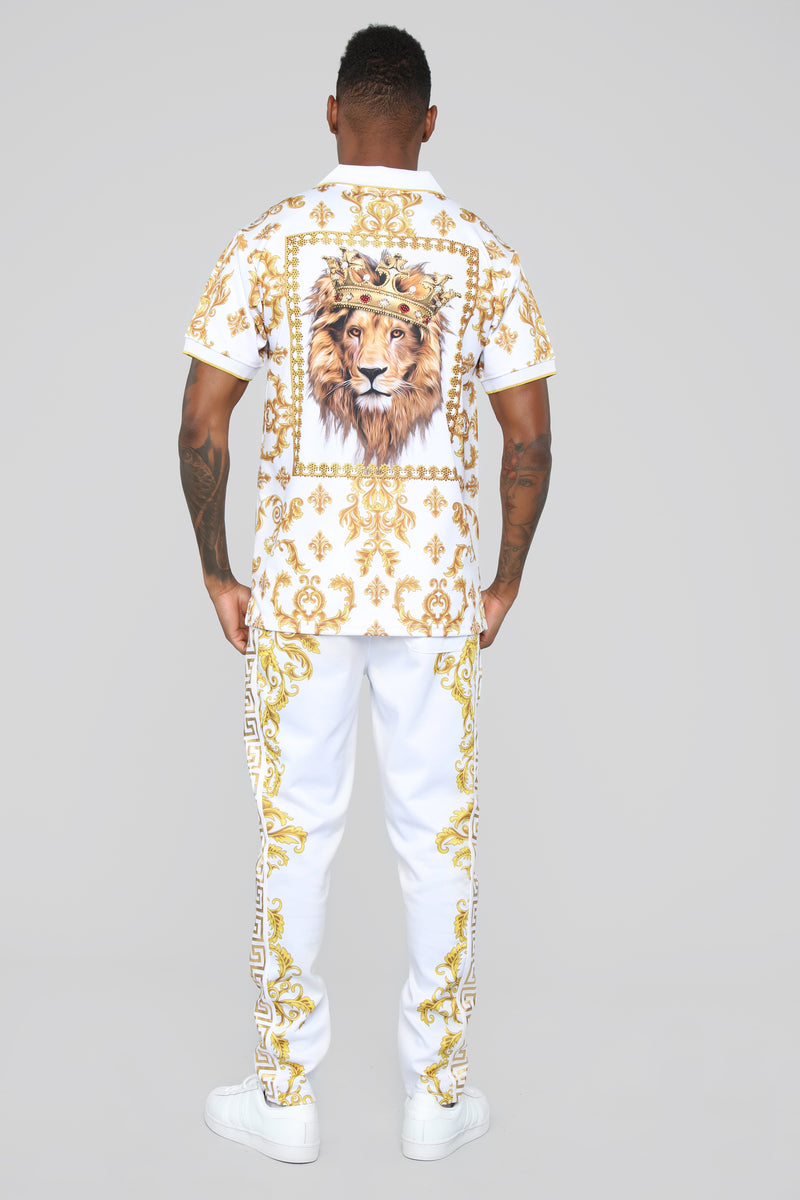 King Of The Jungle Short Sleeve Polo  - White