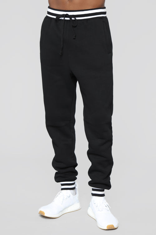 Striped Hem Jogger - Black