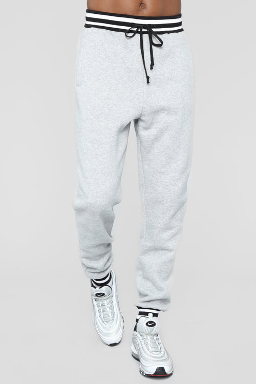 Striped Hem Jogger - Heather Grey