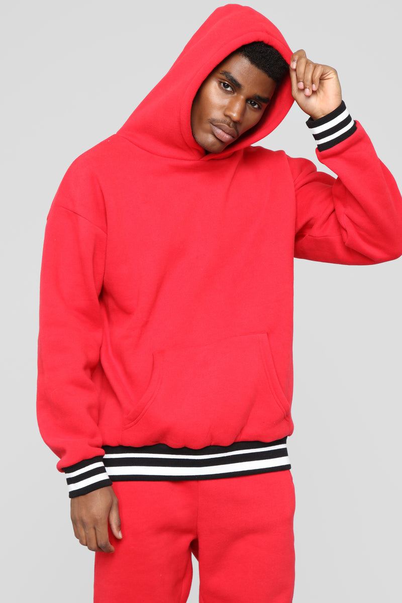 Striped Hem Hoodie - Red