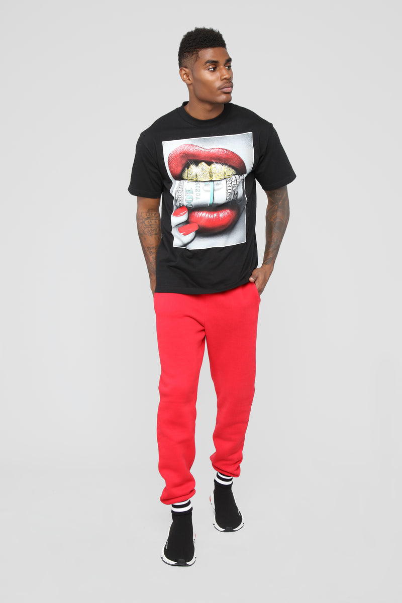 Striped Hem Jogger - Red