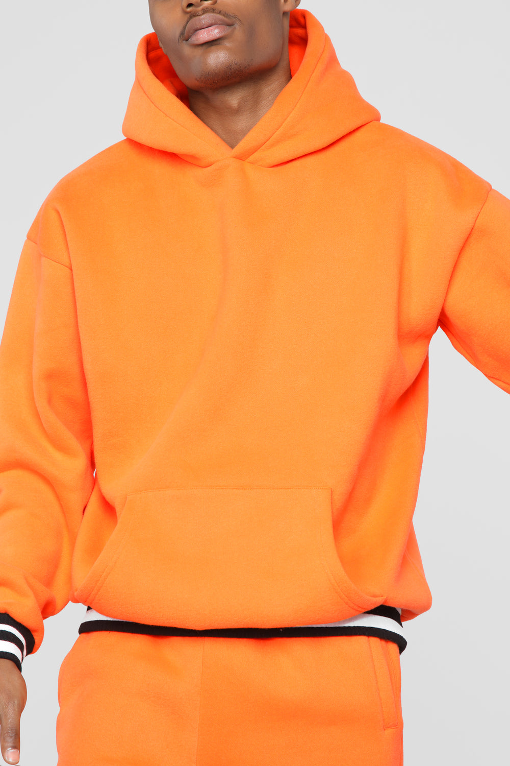 Striped Hem Hoodie - Orange