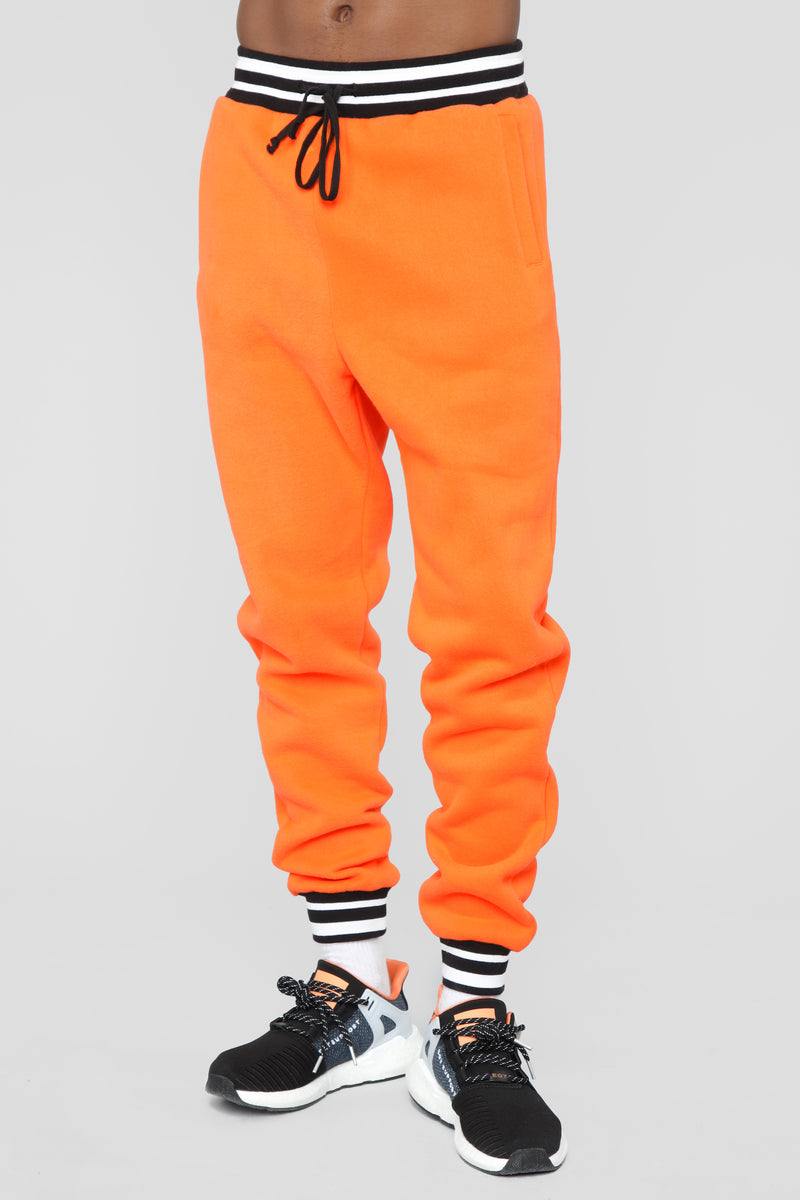 Striped Hem Jogger - Orange