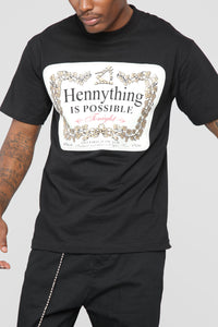 Hennything Is Possible Short Sleeve Crew Tee - Black Angle 2